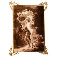 """Antique 1880's Print on Glass """"The Storm"""" Pierre Auguste Cot Brass Frame Picture"""