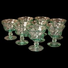 8 Fostoria Jamestown GREEN Champagne Sherbet Glass Shrimp Stem Dessert