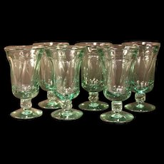 6 Fostoria Jamestown GREEN Champagne HTF SIZE!  Wine Glass Stem Goblet
