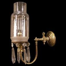 Antique Brass Gilt Cut Glass Crystal Prism Gas Lamp Wall Sconce Light Fixture