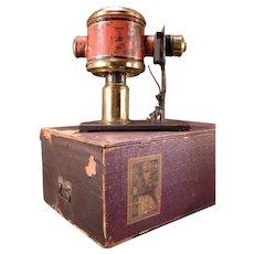19 c German Magic Lantern Tin Toy Slide Projector Bacchus Figure w/Orig Box LION
