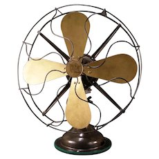 BIG~BEAUTIFUL Paint Vintage 1930's Robbins & Myers Oscillating Model 3854C BRASS Blade Fan