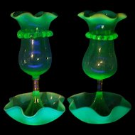 19 c Victorian Vaseline Blue Opal Opalescent Glass Epergne Stourbridge Webb Vase