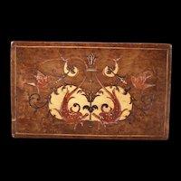 19c Antique Carved Marquetry Burl Wood Inlaid Trinket Jewelry Dresser Inlay Box