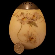19 c Mt. Washington Crown Milano Glass Enamel Floral Egg Muffineer /Sugar Shaker