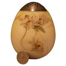 19 c Mt. Washington Crown Milano Glass Enamel Floral Egg Muffineer /Sugar Shaker