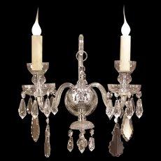 STUNNING~ Vintage Prism Sconce Hanging CUT Crystal Lamp Candelabra Light Fixture