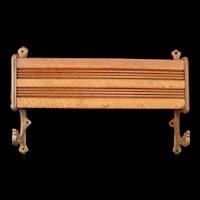 19c Victorian Cast Iron Bracket Oak Wood Pew Book Case Shelf Coat Rack Spice Jar