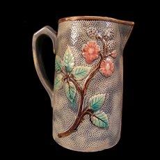 Antique Etruscan Blackberry Majolica Flower Blossom Pottery Pitcher Tankard Jug
