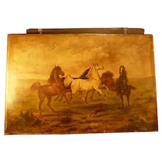 BIG 19 c Victorian Oil Painting O/C Canvas Dog & Horses Running Stallions Prairie