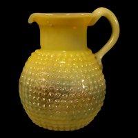 Vintage Opalescent Vaseline Uranium Glass Pitcher Clevenger Thousand Eye Hobnail