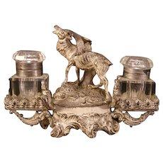 19th c Enamel Vienna Austria Bronze Moose Inkwell French Sculpture Stand Bergman