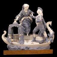 1860's MAUGER & LETU French Parian Figure Cherub Boat Sculpture Statue Centerpiece