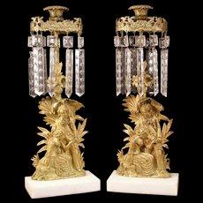 1800's Figure Girandole Candelabra Mantle Lustre Candle Stick Holder Prism Lamp