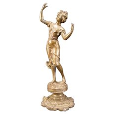 Art Nouveau Spelter Draped Girl Lady Newel Post Woman Figure Lamp Holder