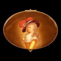 LG 19 c Bronze Porcelain Portrait Plaque PAINTED Jewelry Dresser Trinket Box