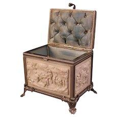 19th c Scenic Portrait Jewelry Trinket Casket Gutta Percha Union Case Box Silver Plate