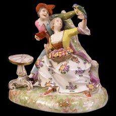 Antique Meissen Dresden German Porcelain Figurine Statue Figure Group Parrot 19c