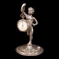 Antique Art Nouveau Boy Flower Relief Figure Pocket Watch Holder Stand Statue