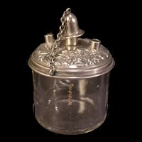 RARE 19 c Repousse Floral Relief Sterling Silver Glass Desk Table Cigar Lighter