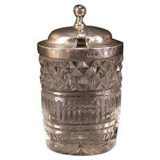 1814 Sterling Silver CHARLES PRICE Cut Glass Jam Castor Condiment Mustard Jar
