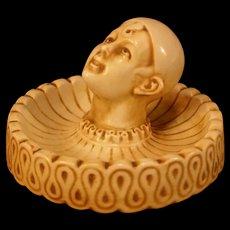 Antique German Porcelain Pierrot Clown Harlequin Minstral Figure Deco Tray Dish
