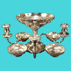 19 c Antique Chase Silver Relief Candelabra Epergne Centerpiece Bowl Candlestick