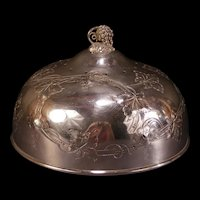Antique Silver Hot Cake Cover Dish Pancake Server Meat Cheese Dome Cloche Vented