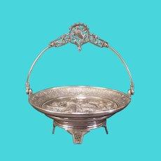 19 c Silver Bride Basket Bird Figure Plaque Stand Center Piece Server Fruit Bowl