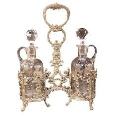 1800's Victorian WMF Silver Relief Etch Glass Castor Oil Vinegar Cruet Stand Bottle Set