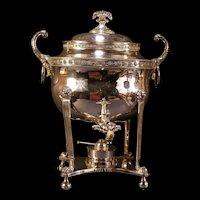 Big 1800's Sheffield Silver Samovar Tea Pot Hot Water Coffee Warmer Urn Server 19c
