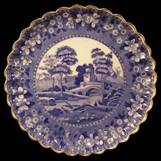 1880's Copeland Spode Tower~SCALLOPED~ Ironstone Blue Transfer Tray Cabinet Plate