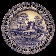 19c 1850s Copeland Spode Tower Reticulated Ironstone Transfer Tray Cabinet Plate