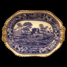 1897 Copeland Spode Tower ~Gold Leaf~ Gilt Ironstone Blue Transfer Tray Platter