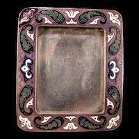 Antique Inlaid Silver Champleve Guilloche Enamel Picture Photo Portrait Frame