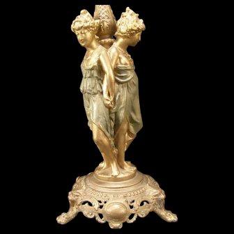 LG Antique Newel Post Draped Nude 3 Girl Figure Cast Iron Statue Sculpture Lamp