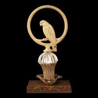 Antique Bradley Hubbard Cast Iron Parrot Parakeet Bird Statue Pedestal Doorstop