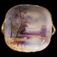 Antique Noritake Nippon H- PAINTED Porcelain Swan Lake Portrait Plaque Bowl Dish