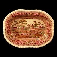 "1890 Copeland Spode""DELFT"" Multi Color Ironstone Transfer Serving Vegetable Bowl"