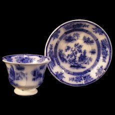 """1800's Wedgwood """"Chapoo"""" Flow Blue & White Transfer Ware Ironstone Asian Cup Plate"""