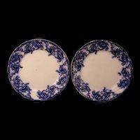 Antique W&E Corn AYR Flow Blue Ironstone Transfer Ware Earthenware Dinner Plates