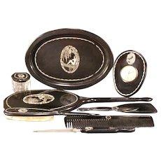 1920s Art Deco Nude Lady Woman Vanity Dresser Set Clock Mirror Comb Brush Tray Box