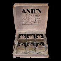 20s Ash's Monkey Silver Menu Place Card Holder Match Cigarette Woman Display Box