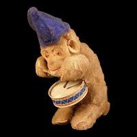 Vintage 50s Max Carl Mechanical Clockwork Windup Toy Glass Eye Mohair Monkey Hat