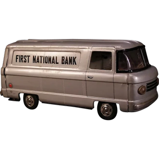 60's Armored Bus Truck Saving Coin First National Bank Friction Japanese Tin Toy