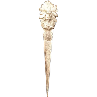 OLD Native American Indian Chief Souvenir Letter Opener Page Turner Figure Bust