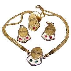 Vintage 10K Gold Jewel Award Hospital Nurse Service Bracelet Pendant School Pin