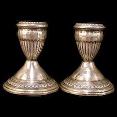 Art Deco Sterling Silver Candle Stick Holders Baluster Corinthian Column