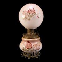 1800's Nouveau FOSTORIA Glass Co GWTW Oil Parlor Banquet Red POPPY Kerosene Lamp