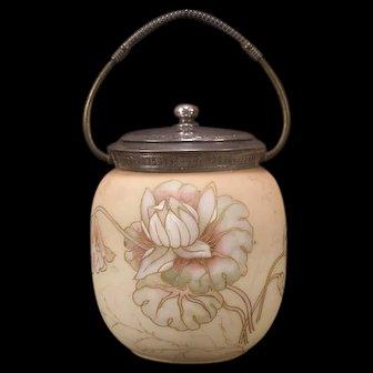 Antique Mt Washington SIGNED Albertine Crown Milano Enamel Biscuit Jar Burmese Glass
